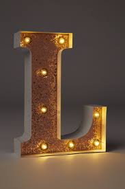 letter lighting. Small Marquee Letter Lights 23cm, WHITE WITH ROSE GOLD GLITTER L. Online Exclusive Lighting