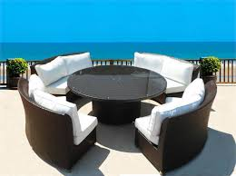 round outdoor furniture patio furniture clearance dark brown wicker dining table in round shape
