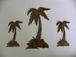 on sale on wood palm tree wall art with palm tree set of 3 metal wall art decor beachfront decor