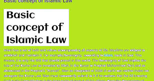 Basic Concep Basic Concept Of Islamic Law