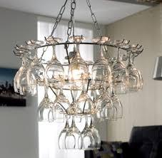 image of hanging wine glass chandelier