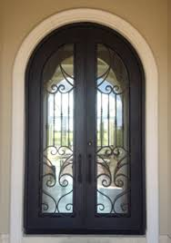 square top exterior steel iron entry door with glass