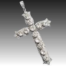 edwardian deco platinum diamond 2 cross pendant 3 ctw cheeky monkey vintage jewelry ruby lane