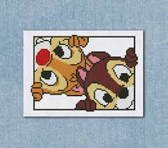 Disney Patterns Mesmerizing Cross Stitch Pattern Disney Portrait Chip And Dale Counted Chart