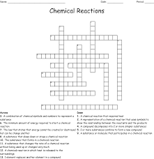 Chemistry Crossword Puzzle Wordmint