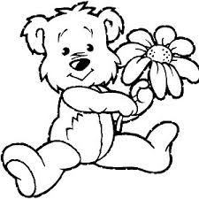 Small Picture Bear and flower coloring page