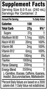 a nutrition facts label for an energy drink