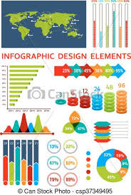 Graphs And Charts With Map For Infographics Design
