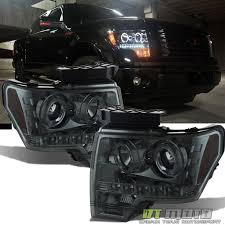 2009 14 ford f 150 f150 dual led halo smoked projector headlights headlamps pair ford truckslifted truckkup