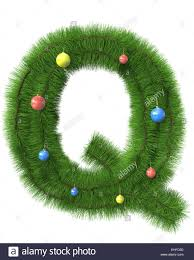 Q letter made of christmas tree branches