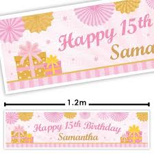 Pink Banners Personalised Pink Decorative Birthday Banner