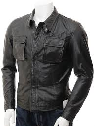 mens black leather shirt jacket salamanca front