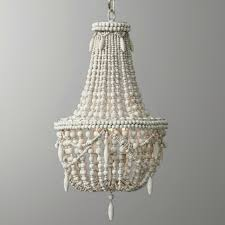 classic farmhouse distressed wood beaded basket 3 light chandelier in antique white grey