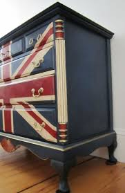 Stockist Nancy Chace of Sea Rose Cottage Union Jack Dresser painted with  Napoleonic Blue, Emperor's Silk and Old White Chalk Paint