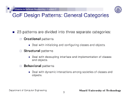 Design Patterns Categories Gof Design Patterns Patterns In Software Engineering Lecture