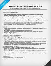 janitor combination resume sample