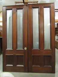 mahogany double pocket doors w etched glass