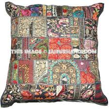 Indian Embroidered Throw Pillows For Couch Handmade Patchwork Sofa Cushions-Jaipur  Handloom ...
