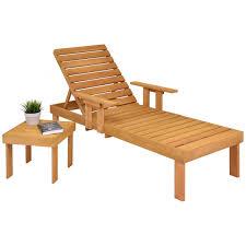 Gymax patio chaise sun lounger outdoor garden side tray deck chair beach chair wood walmart com