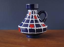 Vintage ceramic Ilkra vase, 2024/10, blue color, geometric white and red