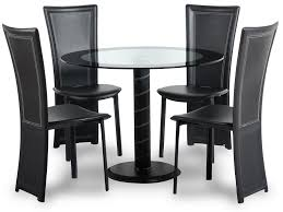 glass round dining table and 4 chairs set