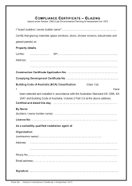 Certificate Of Compliance Template Word Glazing Compliance Certificate In Word And Pdf Formats
