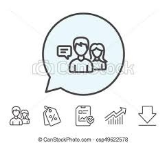 Stroke Communication Chart People Talking Line Icon Conversation Sign