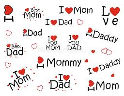 stickers i love mom and i love dad stock vector