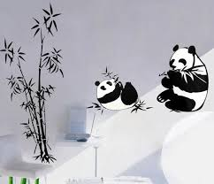 Small Picture High Quality Panda Wall Decals Cartoon Roaming in Bamboo Home