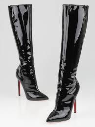 louboutin black patent leather pretty woman 120 sti boots size 6 36 5
