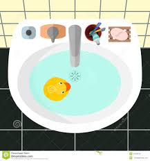 cartoon bathroom sink and mirror. Top View On A Sink In Bathroom With The Yellow Rubber Duck Royalty Free Stock Cartoon And Mirror R