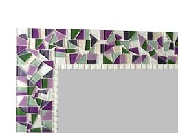 square mosaic wall mirror in purple green and white add a pop of color to your walls with handcrafted wall art from green street mosaics