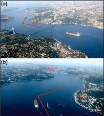 a) The narrowest part of the Istanbul Strait between the towns Kandilli...