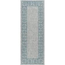 tayse rugs veranda teal 3 ft x 7 ft indoor outdoor runner rug