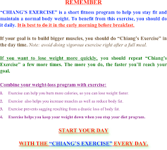 remember chiang s exercise is a short fitness program to help you stay fit and