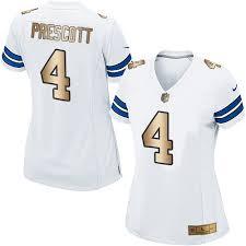 4 Dallas Dak - Women's Jerseys Road Jersey Football gold Cowboys Sale Prescott Elite White