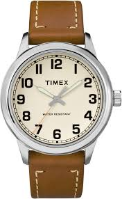 timex mens tw2r22700 new england silvertone brown leather strap watch