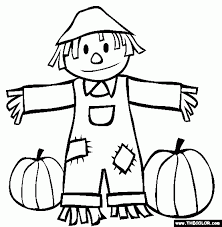 Small Picture Fall Scarecrow And Pumpkins Coloring Page with Scarecrow Color