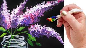 Lilacs in Mason Jar Q Tip Painting for Beginners Tutorial