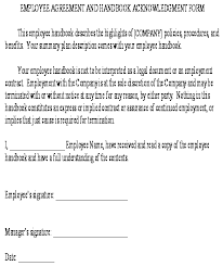 Employee Acknowledgement Form Template Employee Agreement And Handbook Acknowledgment Form Template
