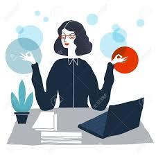 meditation office. Business Woman Meditating.Woman In Yoga Pose. Meditation Office. Vector Modern Office O