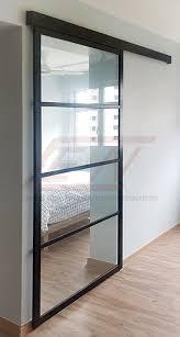sliding doors central aluminium glass