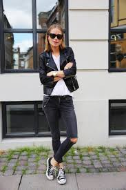 stylish school outfits with a leather jacket