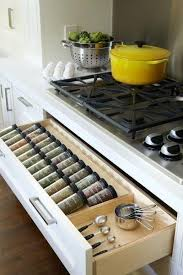 Modern kitchen cabinets with built-in spice organizers
