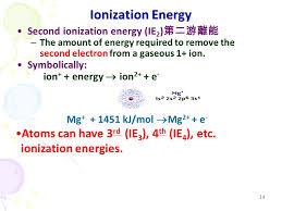 14 ionization energy second