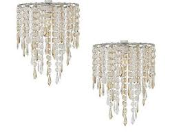 2 x champagne acrylic crystal jewel drops ceiling pendant light shade chandelier