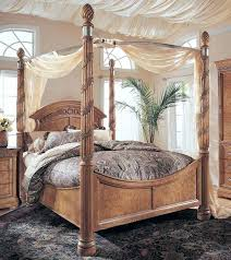 King Size Wood Canopy Bed King Canopy Bed Drapes King Size Canopy ...