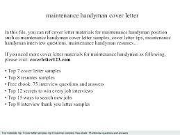 Self Employed Handyman Resume Free Sample Handyman Resume Self Employed Maintenance Cover Letter