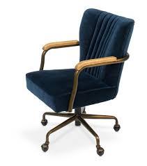 blue velvet swivel office chair on casters rh enhancingyourhabitat com velvet office chair uk velvet desk chair with arms