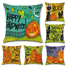 Pillow <b>Case Halloween Cartoon</b> Pumpkin Pillowcase Linen Cushion ...